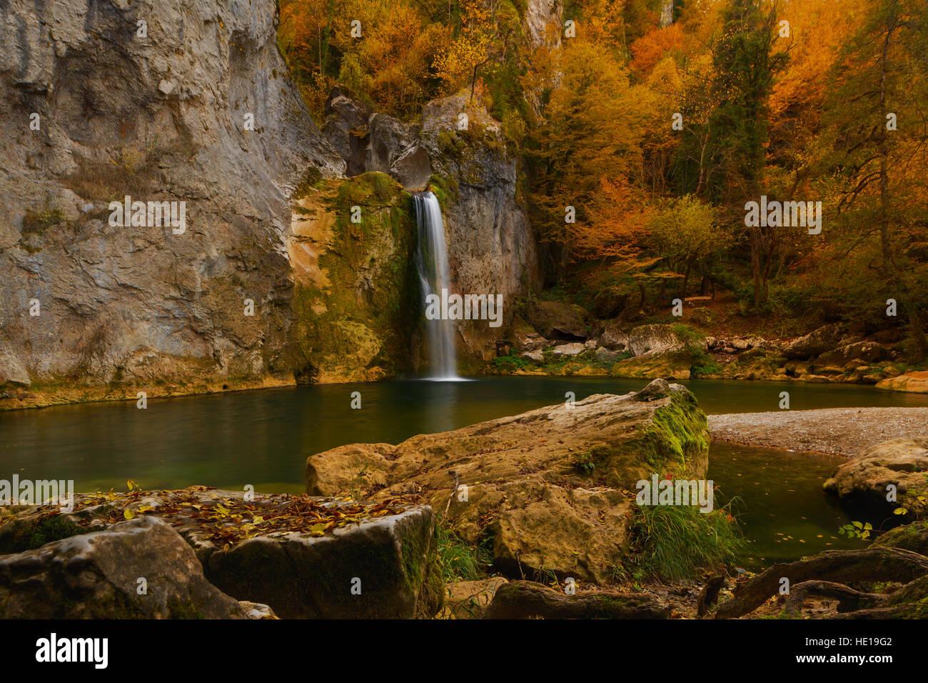 Landscape of Ilica waterfall with beautiful autumn nature of Kure Mountains in Kastamonu, Turkey - Stock Image