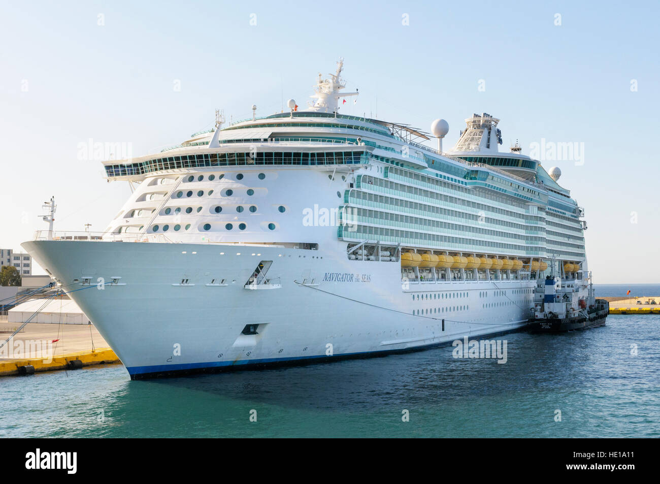 MS cruise ship Navigator of the Seas, moored in the port of Piraeus, Athens, Greece - Stock Image