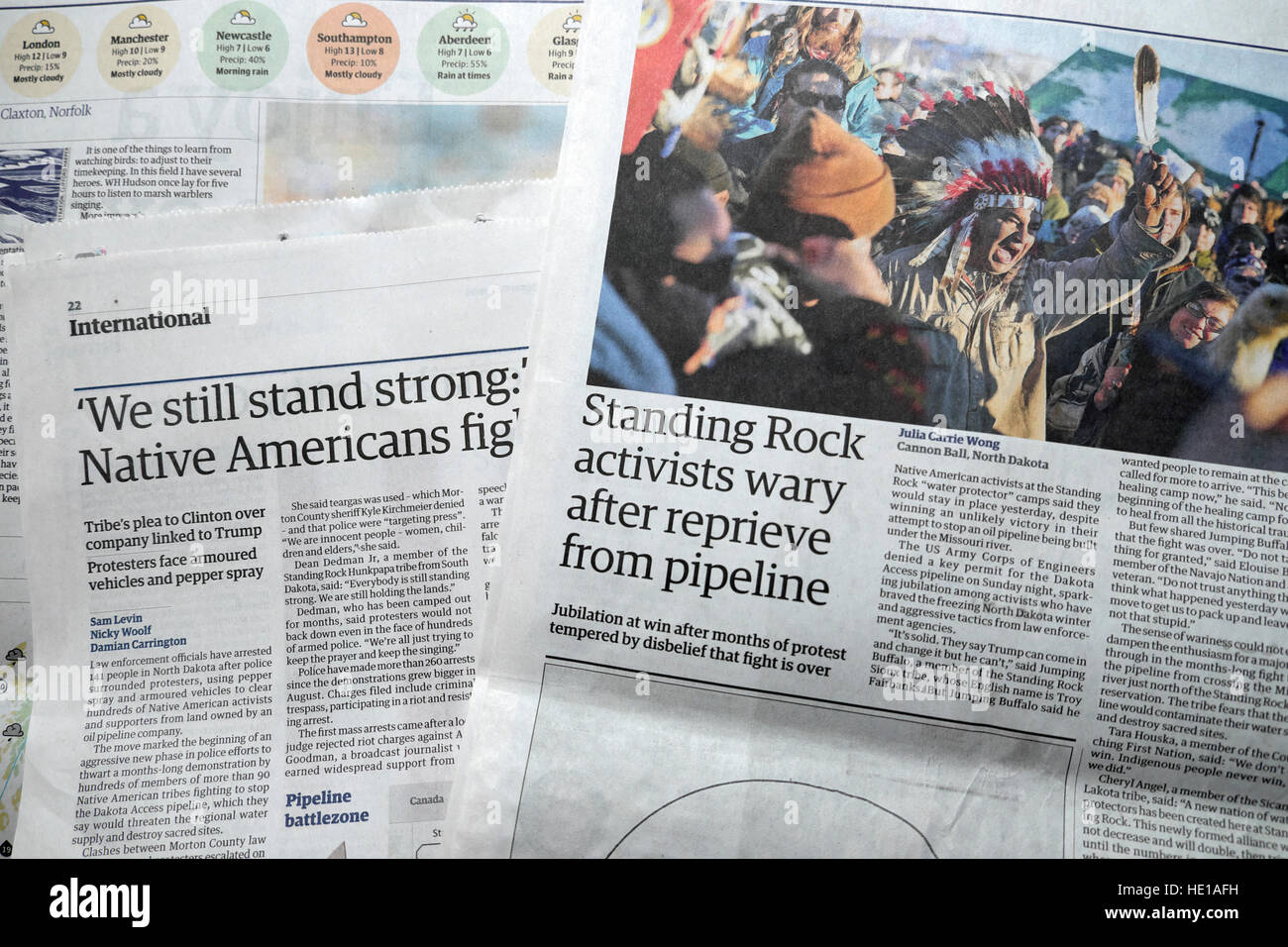 Native Americans at Standing Rock pipeline First Nations  protest article in Guardian newspaper  London UK - Stock Image
