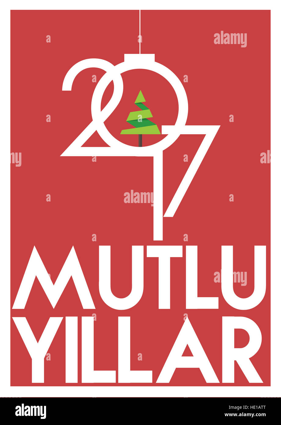 Happy New Year merry christmas 2017 background Calendar design typography illustration - Stock Image