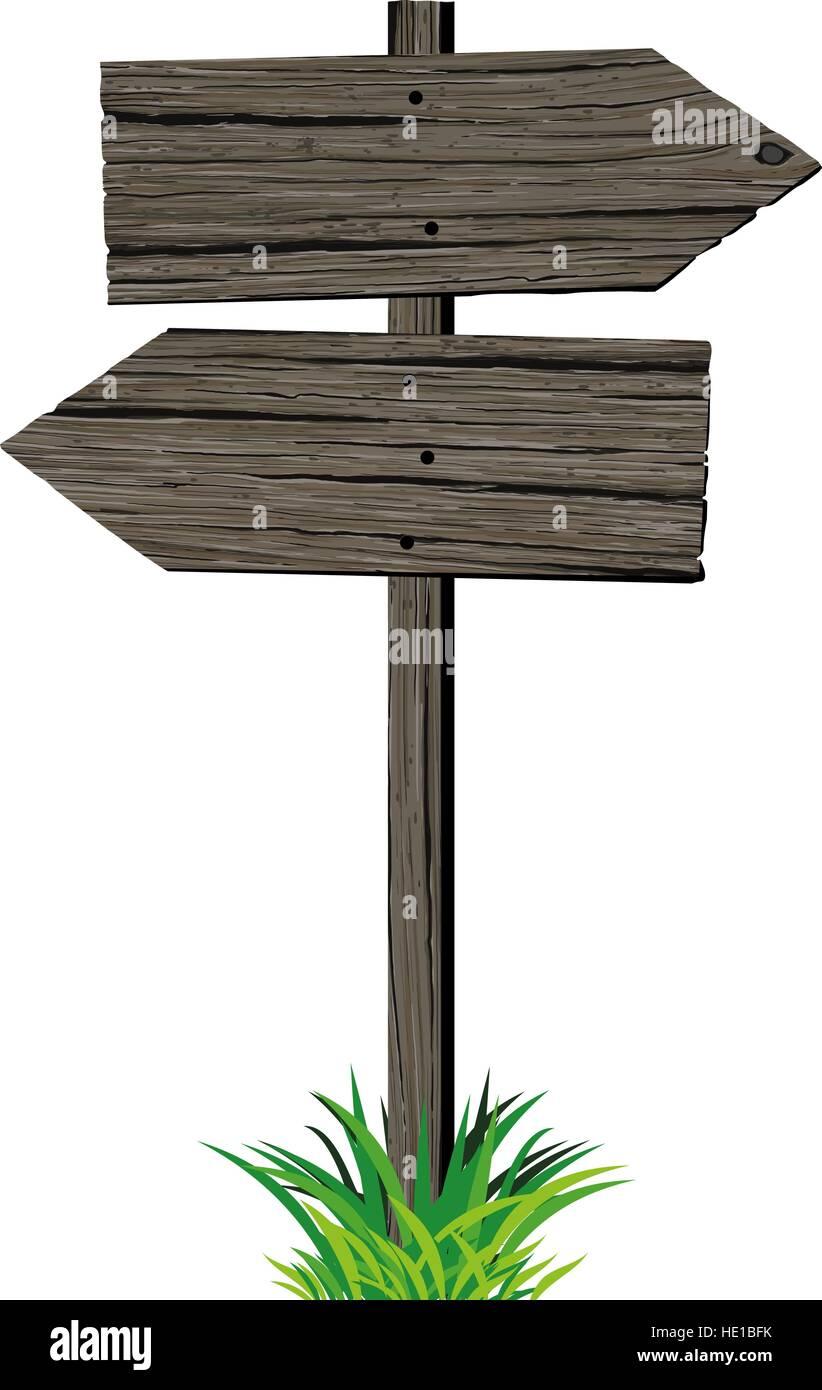 Wooden arrows road sign - Stock Vector