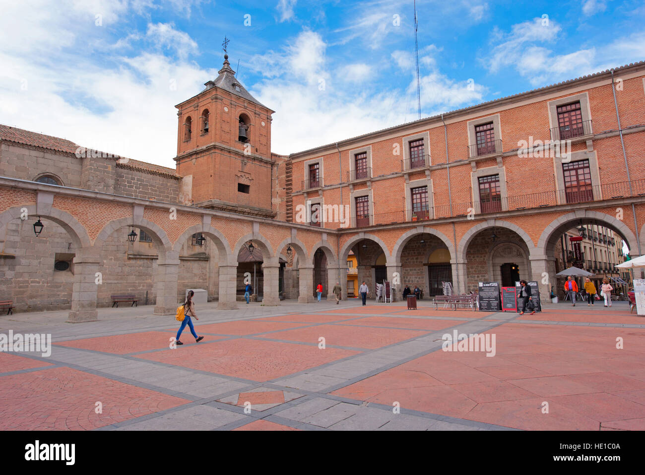 One of the many plazas (squares) in the walled city of Avila, Spain - Stock Image