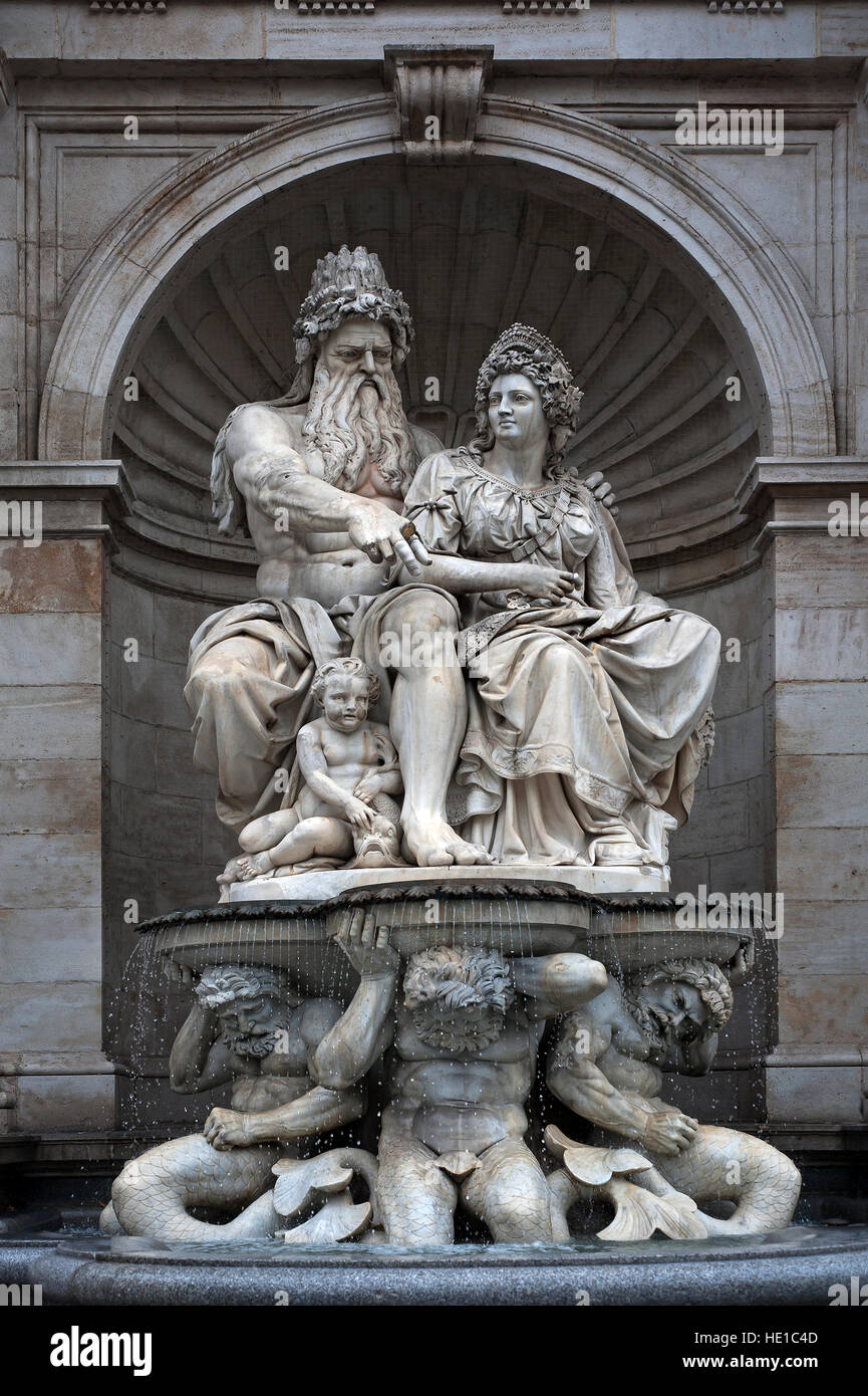 Albrecht fountain sculpture, unveiled in 1869, male symbolic of Danube, woman symbolic of Vienna, Albertina Museum, - Stock Image