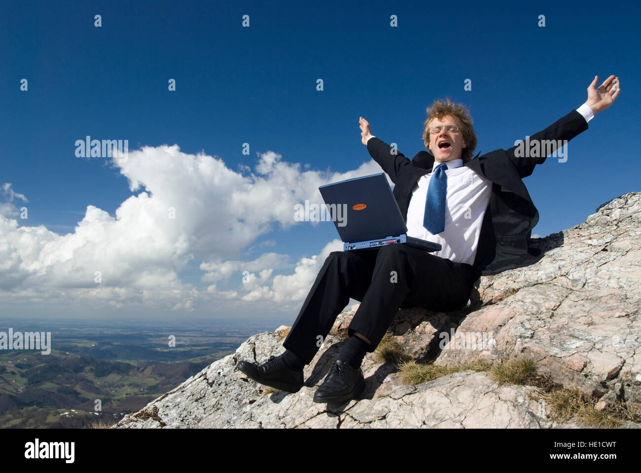 Businessman at the finish, reached his goal - Stock Image