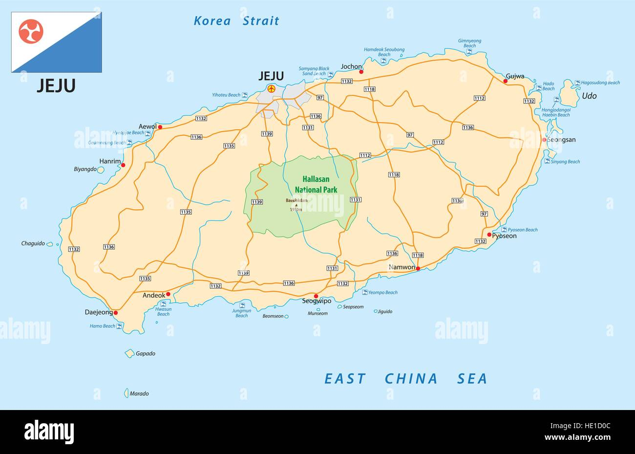 road map of the South Korean Jeju Iceland with flag - Stock Image