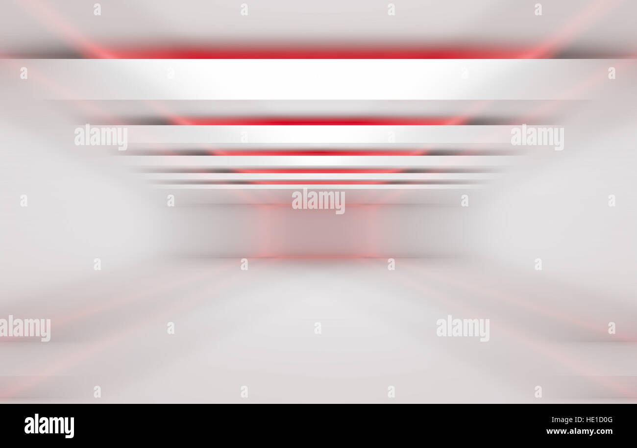 Abstract 3 dimensional geometric red and white background. Stripes of lights in empty tunnel interior, 3d render - Stock Image