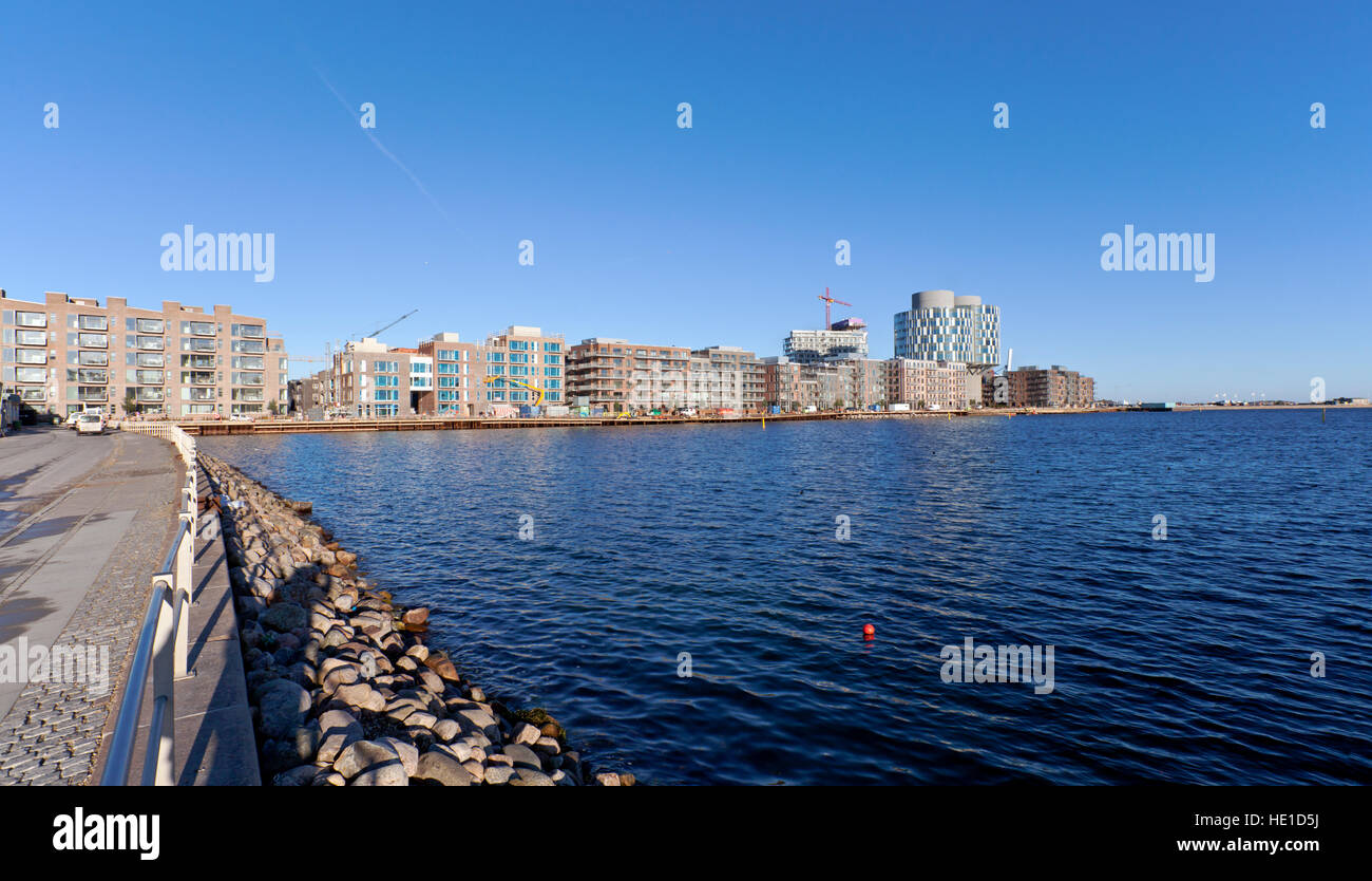 The exciting new attractive residential and office block quarter, Sandkaj Brygge, in Nordhavn, the north harbour - Stock Image