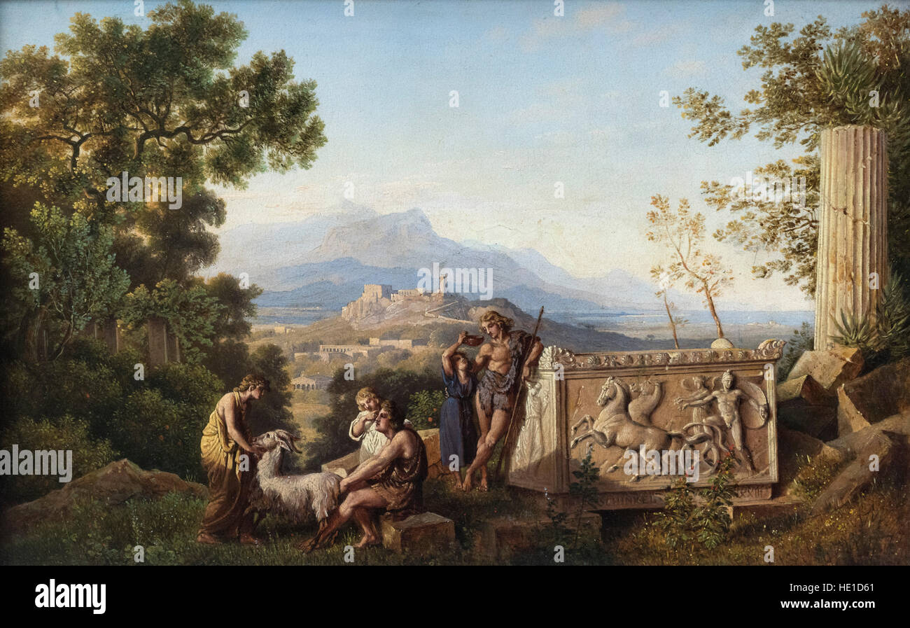 Karl Friedrich Schinkel (1781-1841), Greek Fantasy Landscape with Resting Shepherd (1823). Griechische Ideallandschaft - Stock Image