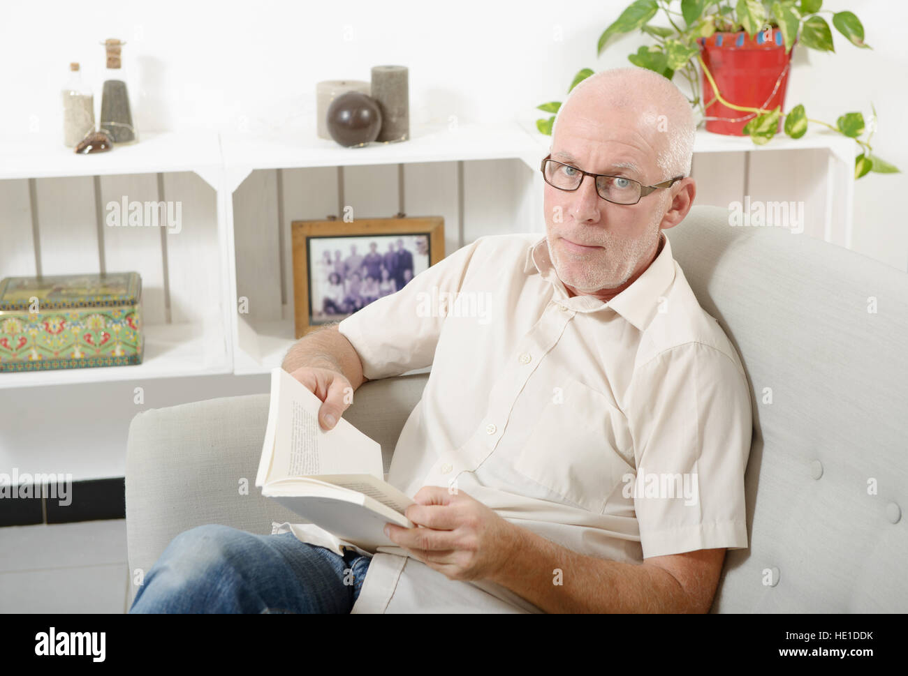 handsome mature man sitting on sofa and read a book - Stock Image