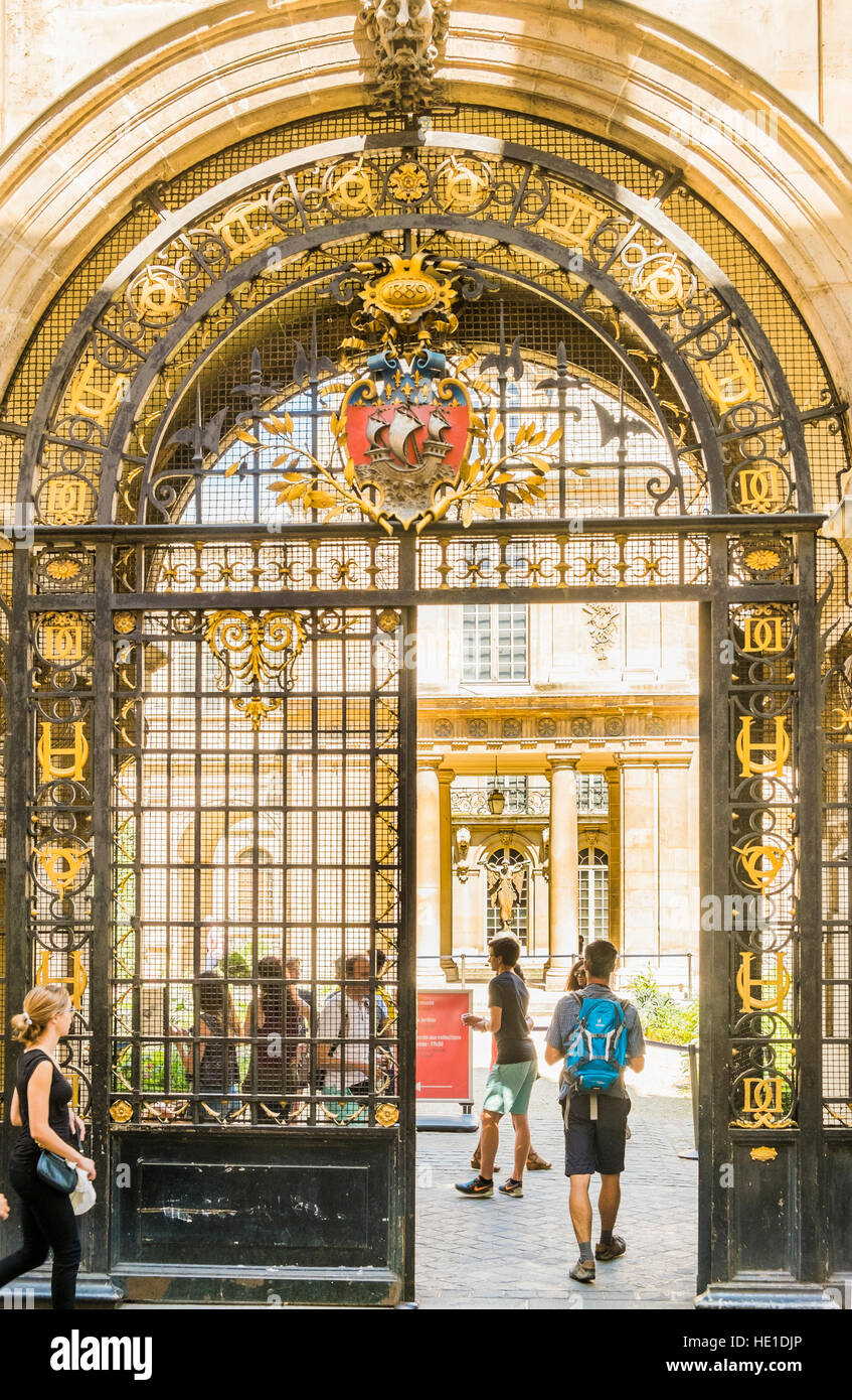 wrought iron gate, entrance of musée carnavalet - Stock Image