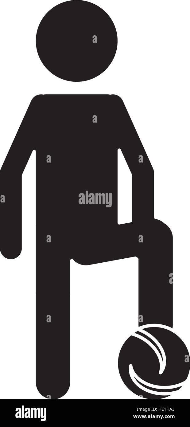 silhouette soccer player football uniform - Stock Image