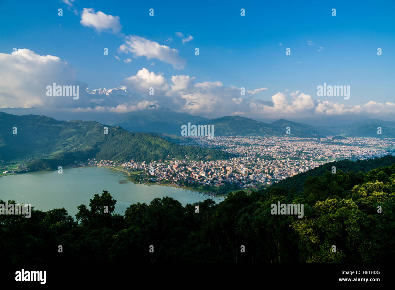 Aerial view on the city and the Phewa Lake - Stock Image