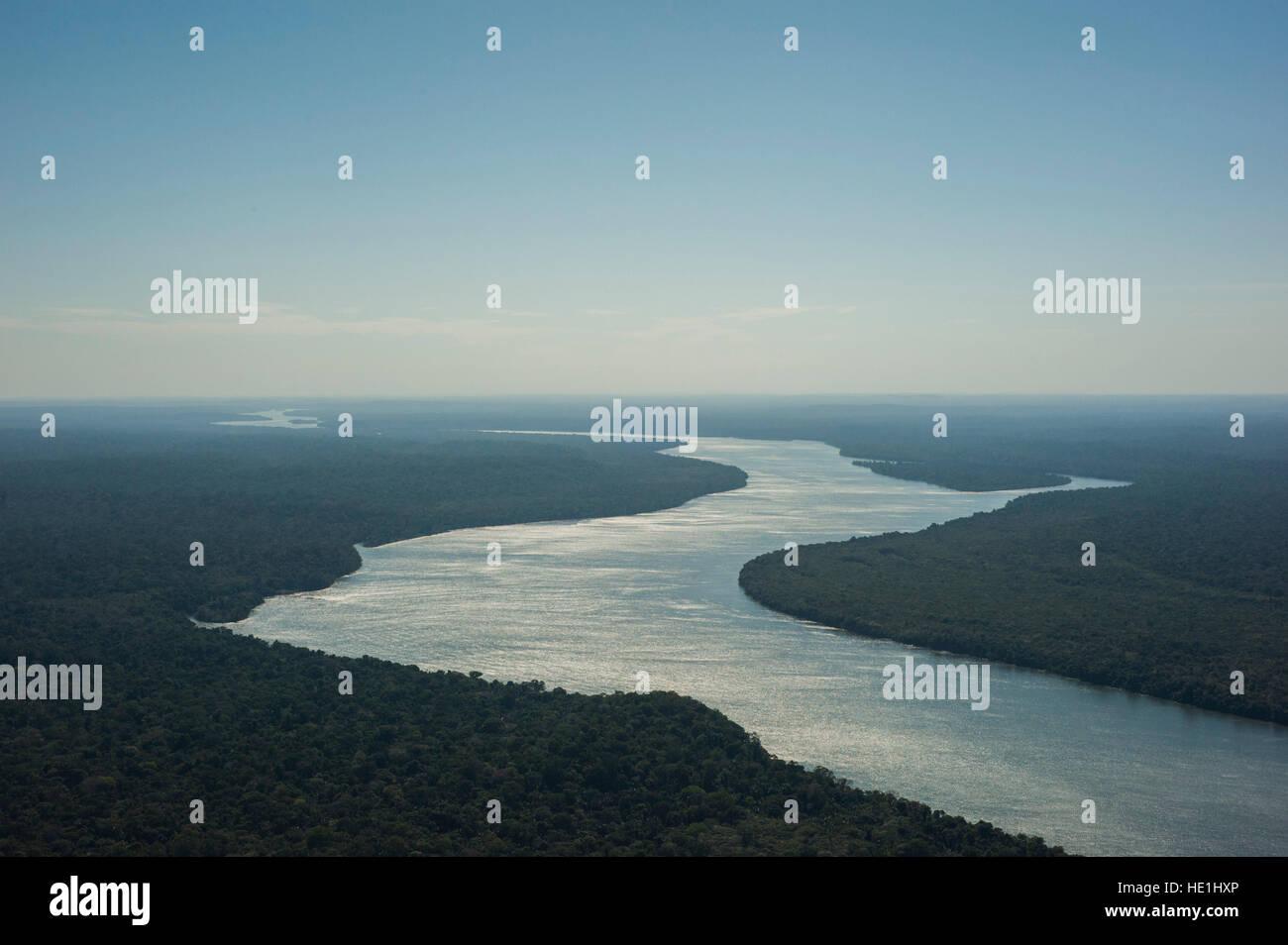 Juruena aerial view taken at the Juruena National Park, Brazil. - Stock Image