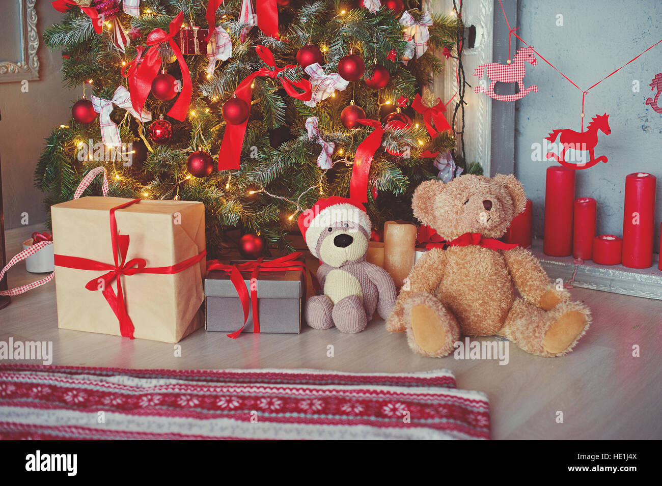 Vintage Toys Under Christmas Tree Stock Photos Vintage Toys Under