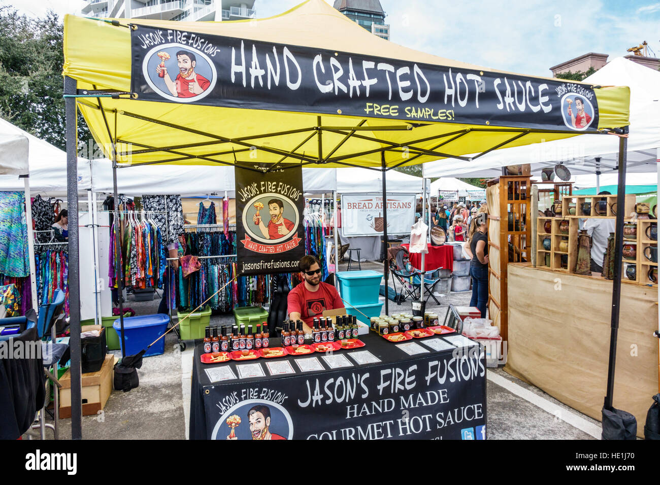 St. Saint Petersburg Florida Saturday Morning Market vendors stalls shopping food artisan gourmet farmers hand crafted - Stock Image