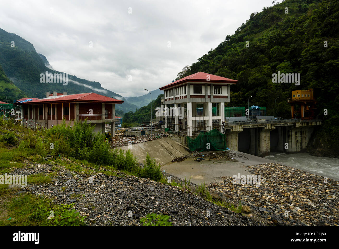 The future chinese Upper Marsyangdi hydroelectric powerplant project at the stage of construction - Stock Image