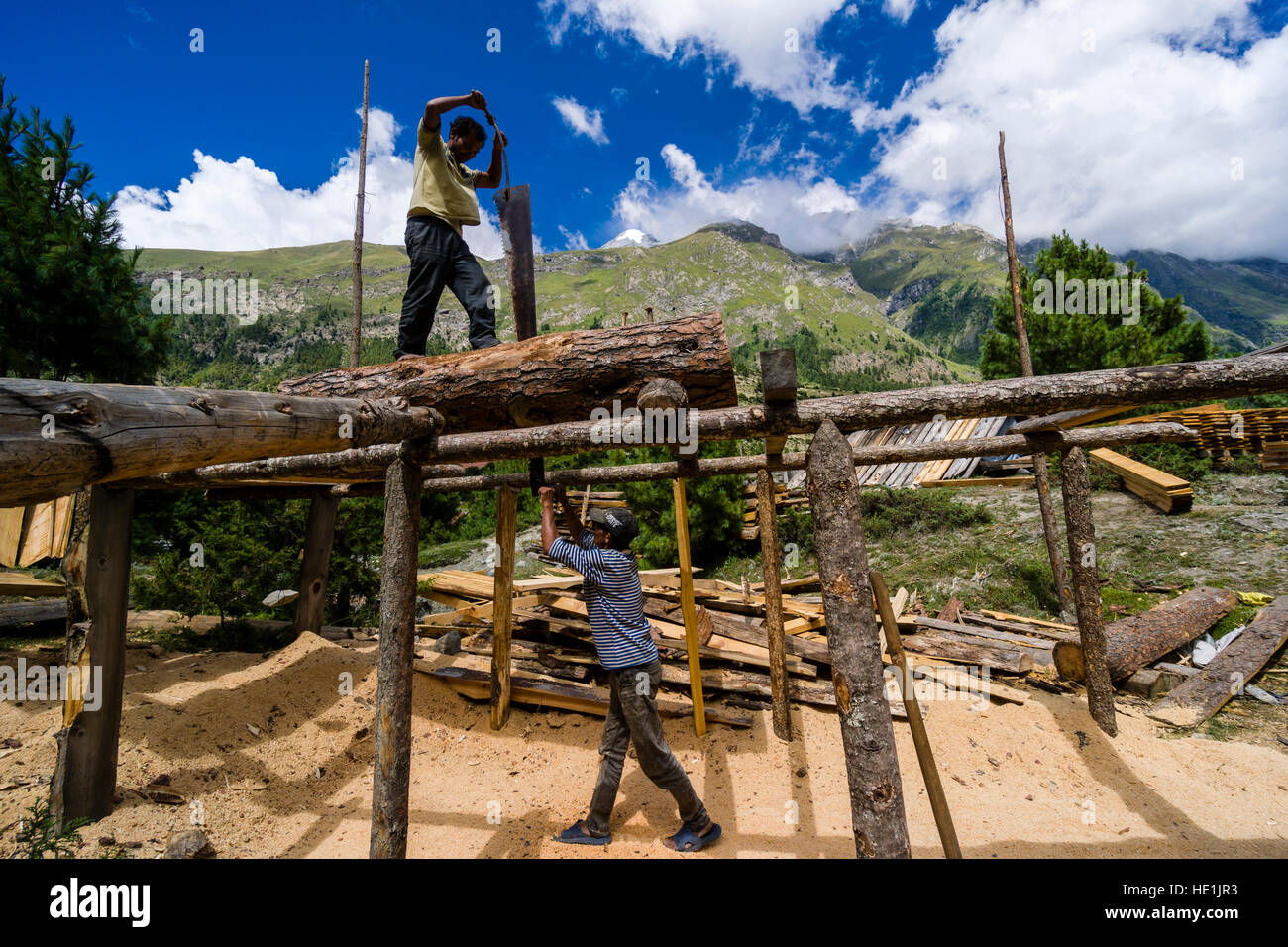 Two local men are sawing timber wood, using a blade saw and a wooden scaffold - Stock Image