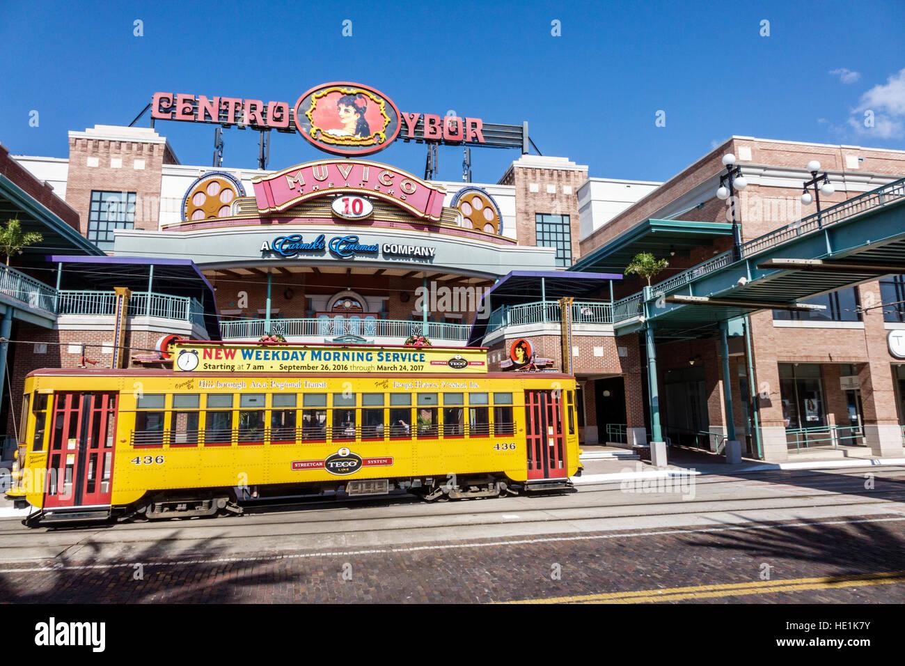 Tampa Florida Ybor City historic neighborhood Centro Ybor complex shopping TECO Line street car - Stock Image