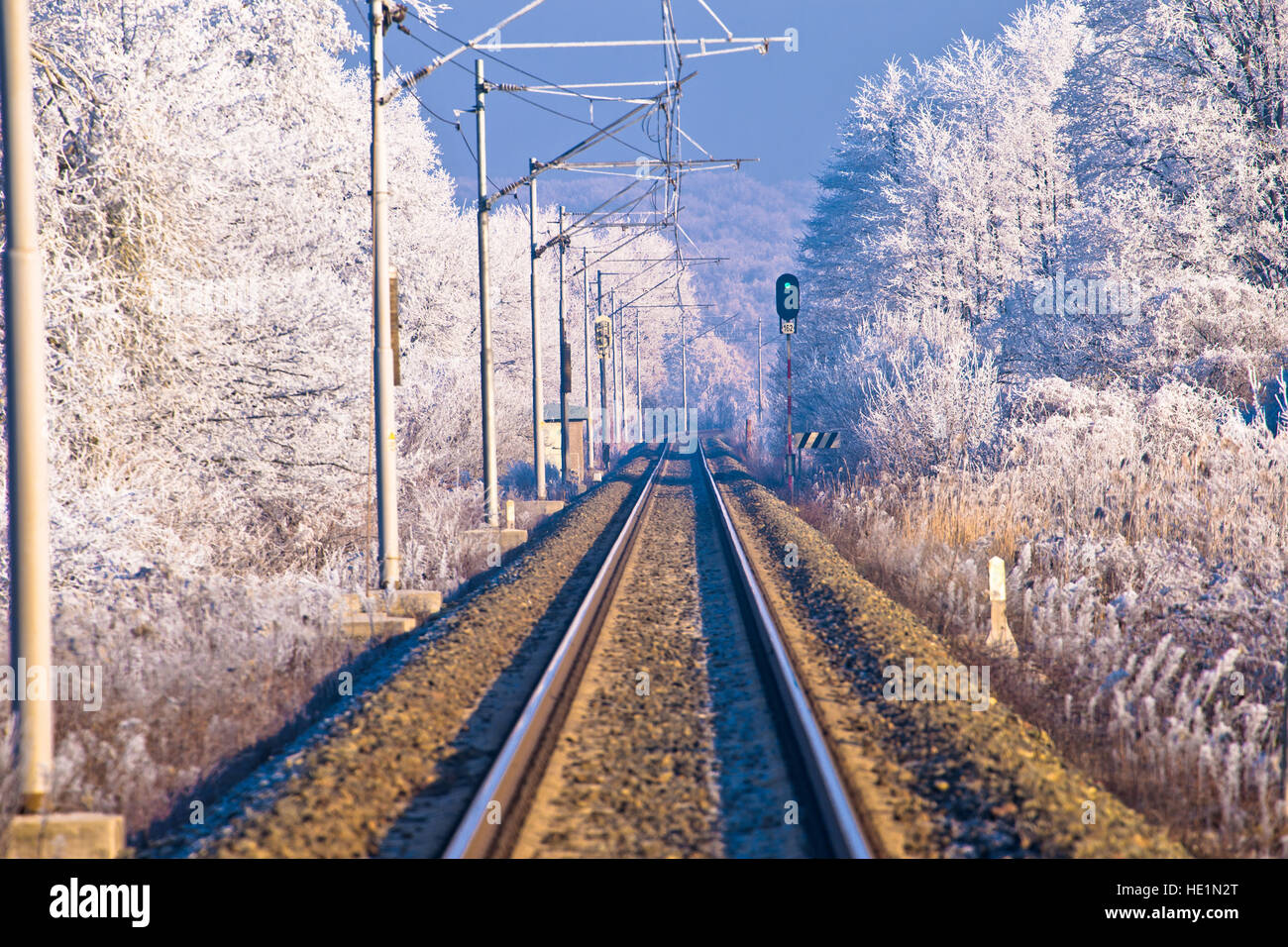 Rail track in winter landscape view, Croatia - Stock Image