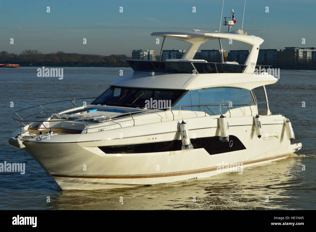 Prestige 630 luxury yacht heading to London Boat Show 2017 - Stock Image