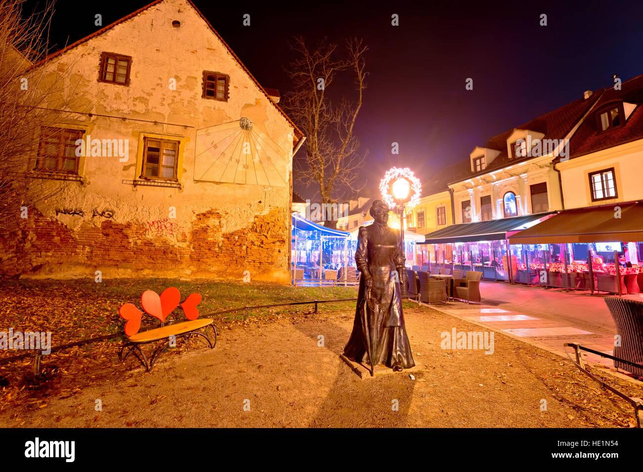 Old Tkalca street in Zagreb evening advent view, capital of Croatia - Stock Image