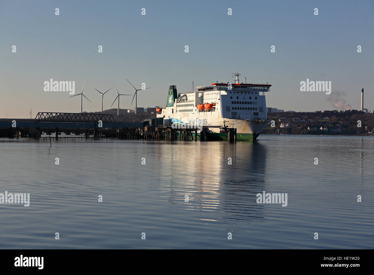 Long distance picture of the large ferry the 'Isle of Inishmore' at berth and making ready to depart for - Stock Image