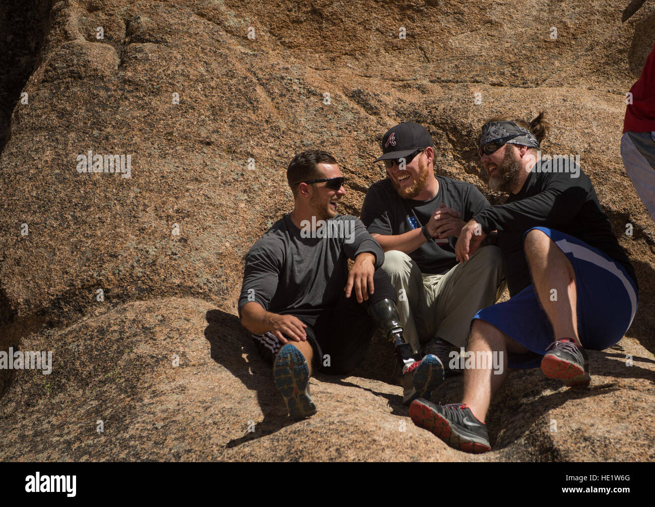 U.S. Air Force Staff Sgt. Gideon Connelly, Staff Sgt. Ret. Richard W. Rose Jr., and Master Sgt. Ret. Corey Jensen - Stock Image