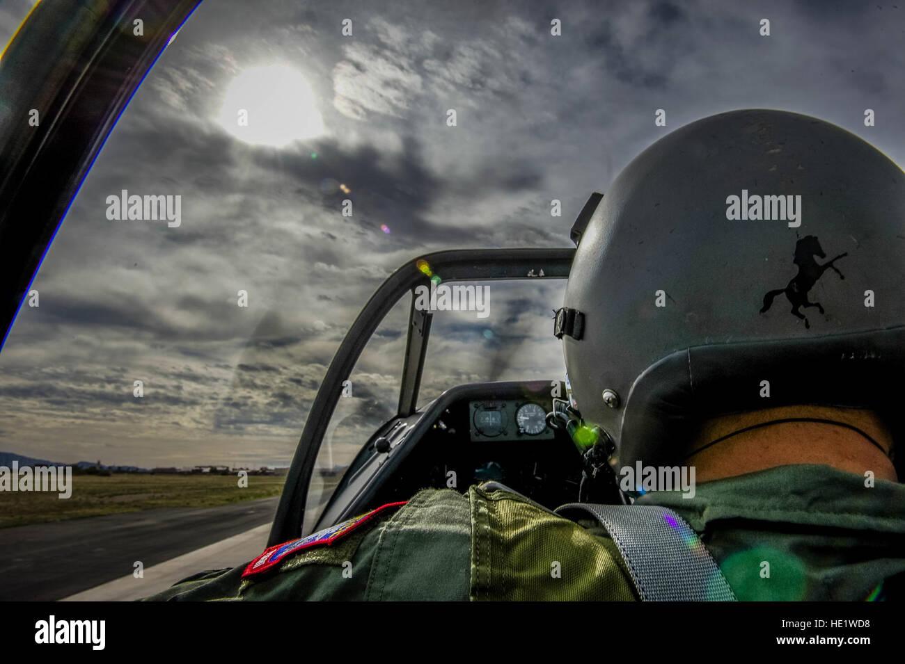 Vlado Lenoch, a pilot with Air Combat CommandÕs Heritage Flight program, taxis the runway at Davis-Monthan Air Force Stock Photo