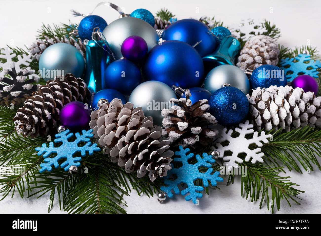 Christmas Decoration With Purple And Blue Color Shades Ornaments Greeting Background Balls Fir Branches Felt Snowflakes