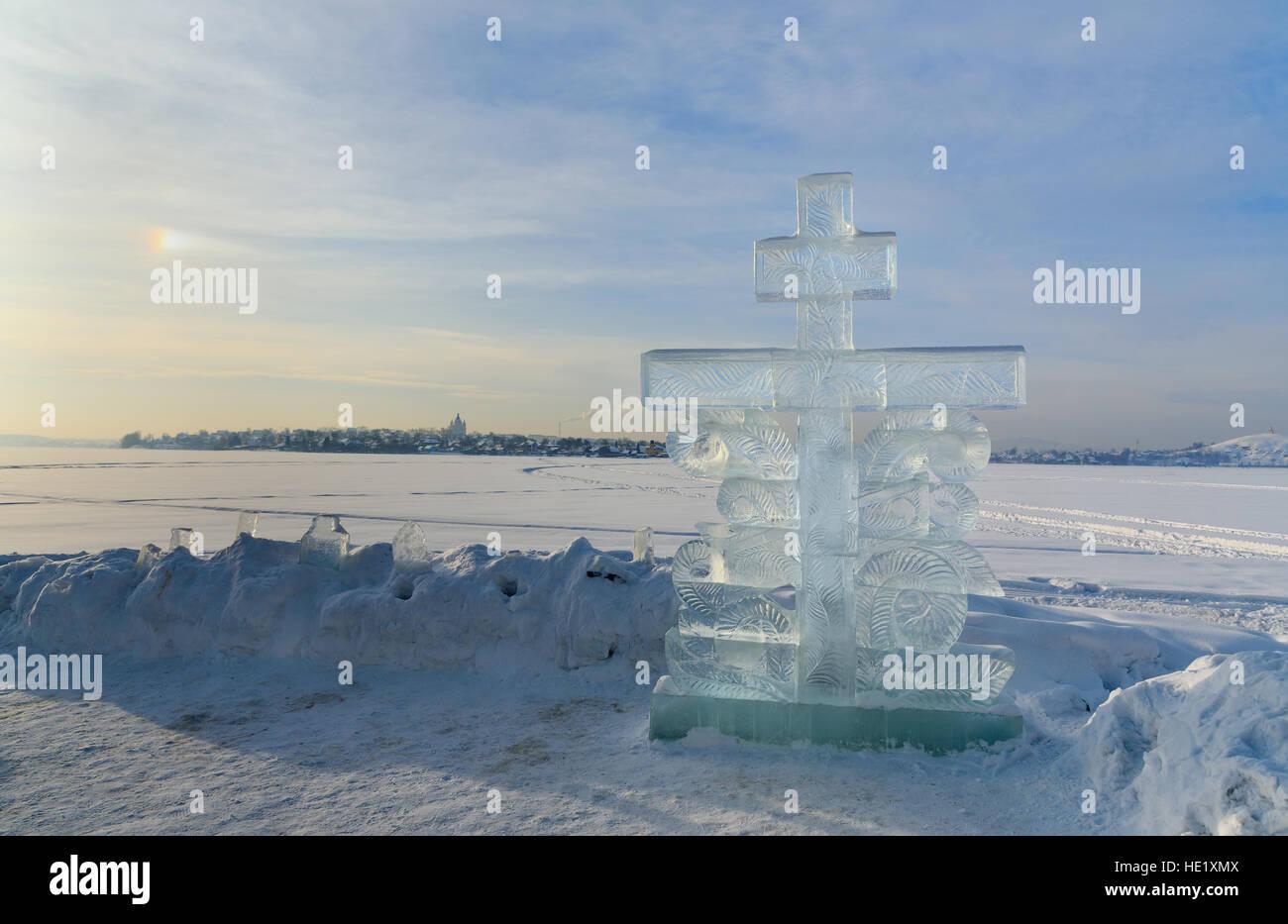 epiphany bathing in ice hole stock photos epiphany. Black Bedroom Furniture Sets. Home Design Ideas