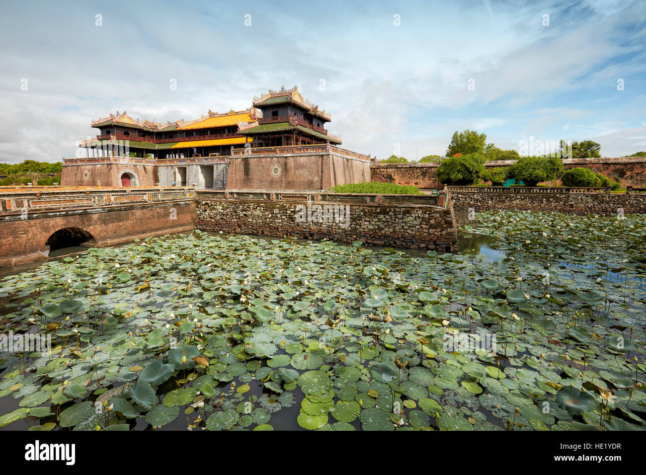 Moat with lotuses at the Noon Gate (Ngo Mon). Imperial City, Hue, Vietnam. - Stock Image