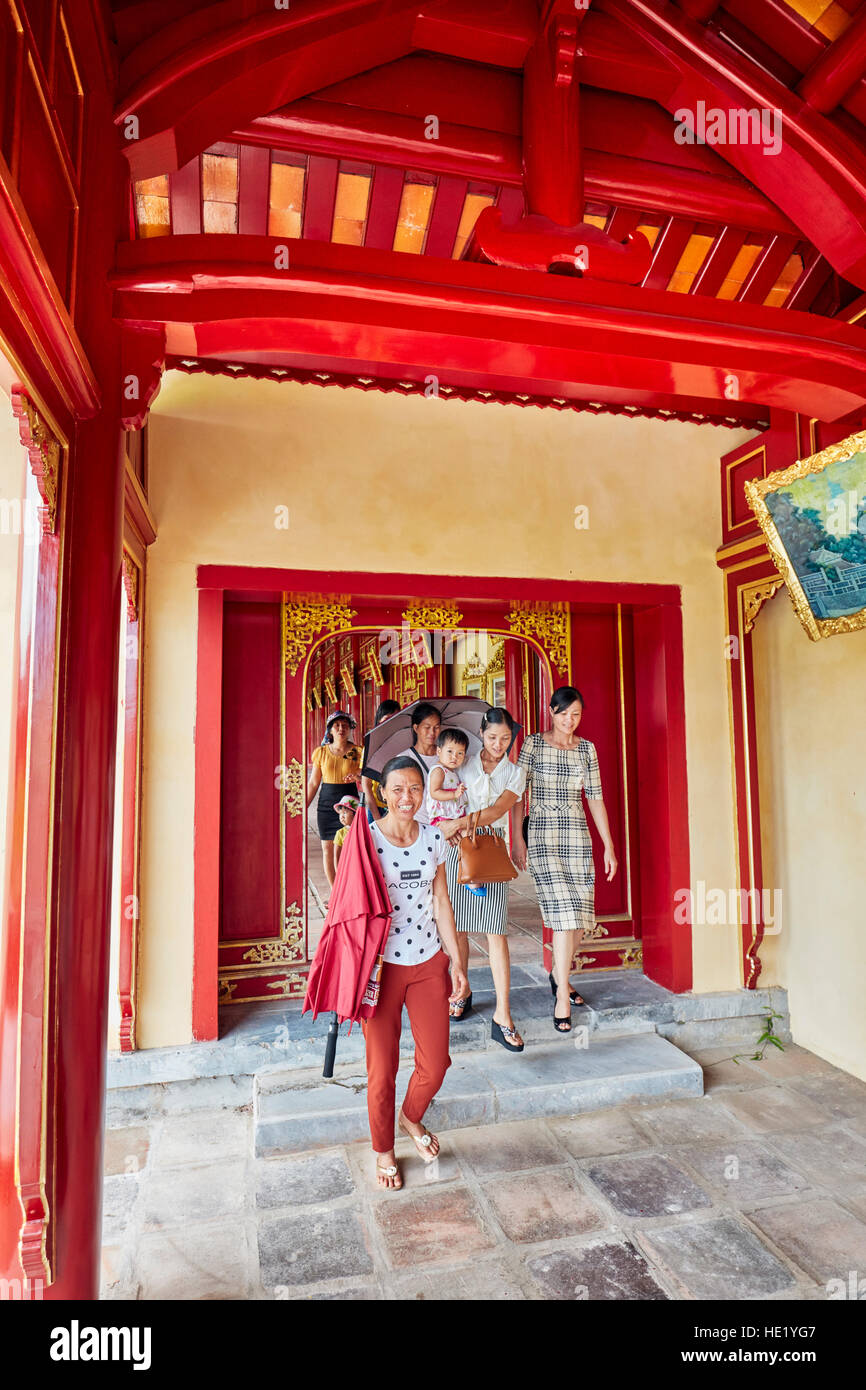 Open gallery in Khon Thai Residence (Queen's Private Apartment). Imperial City, Hue, Vietnam. - Stock Image
