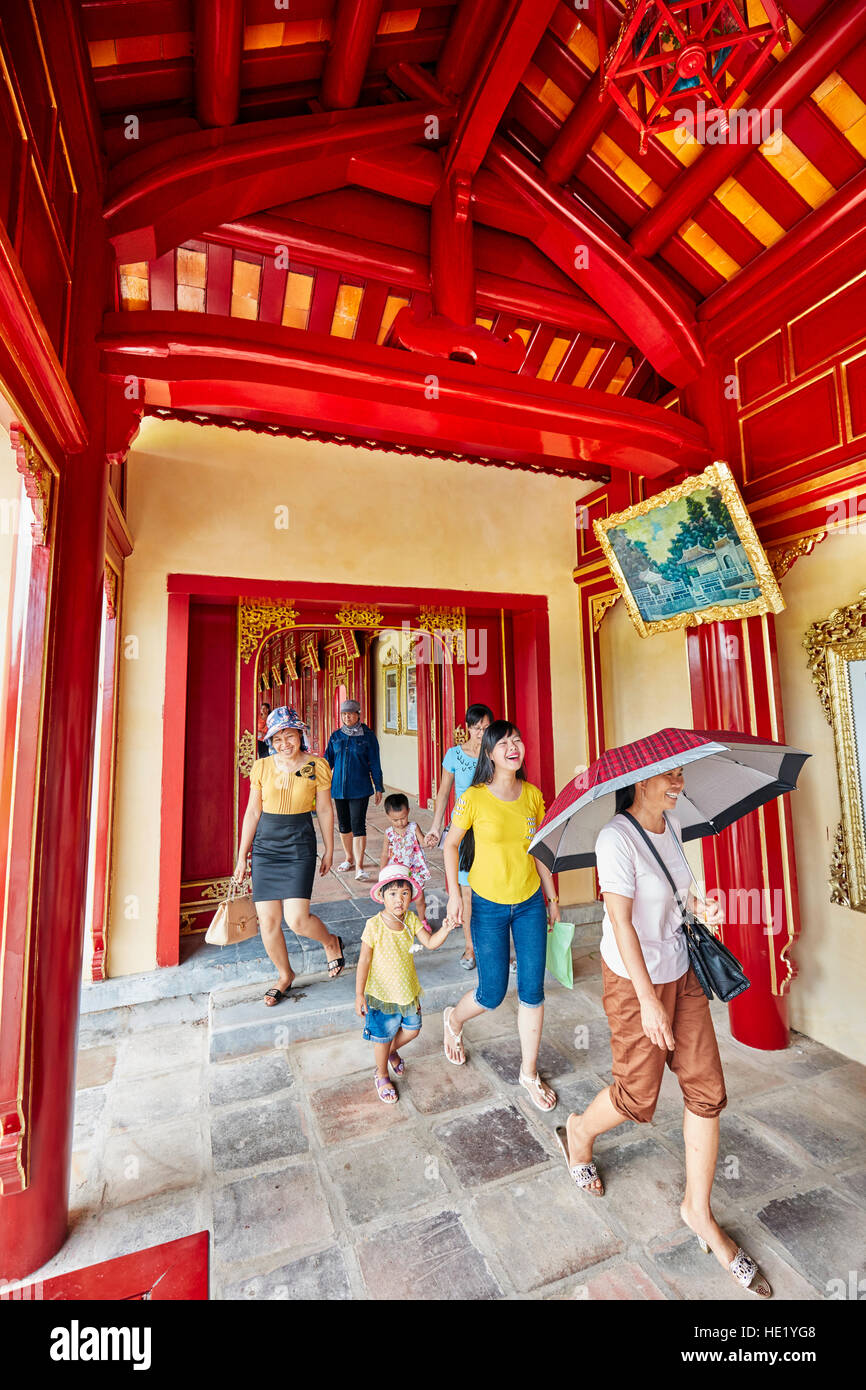 Open gallery in Khon Thai Residence (Queen's Private Apartment). Imperial City, Hue, Vietnam. Stock Photo