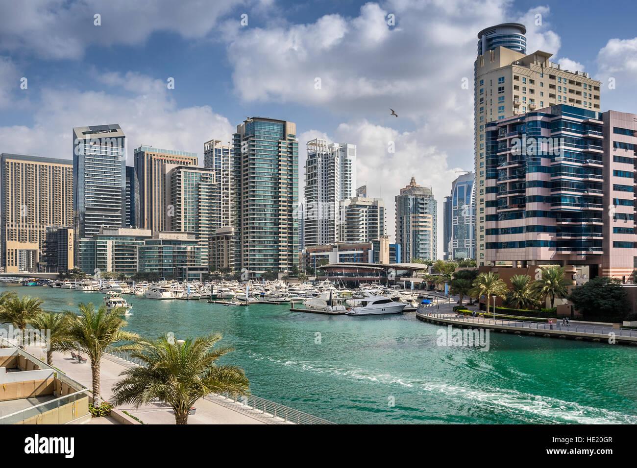 Dubai marina in the UAE - Stock Image