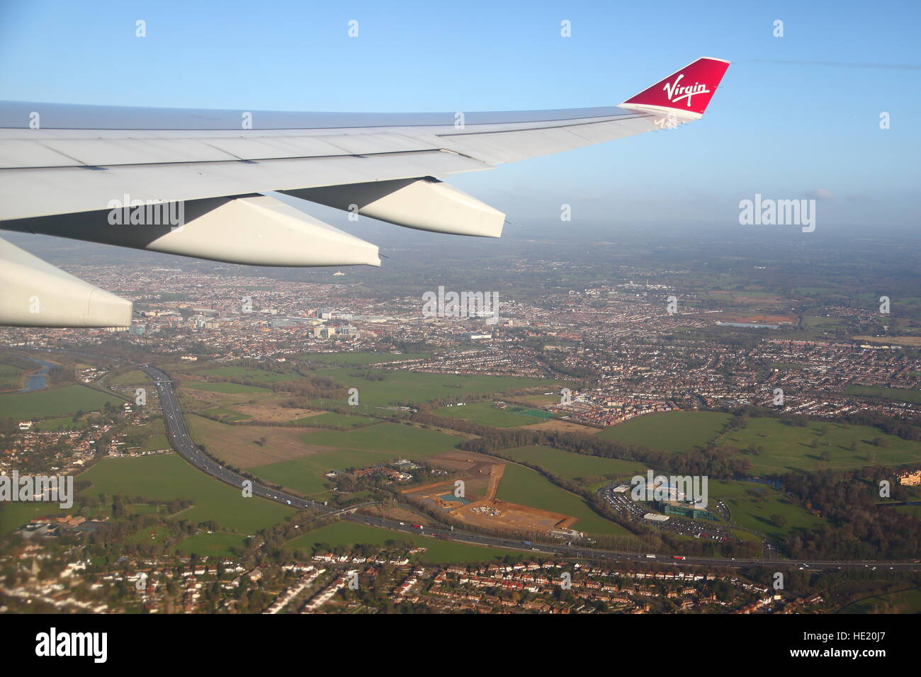 View from a Virgin plane over the Thames valley in Henley-on-Thames, UK Stock Photo