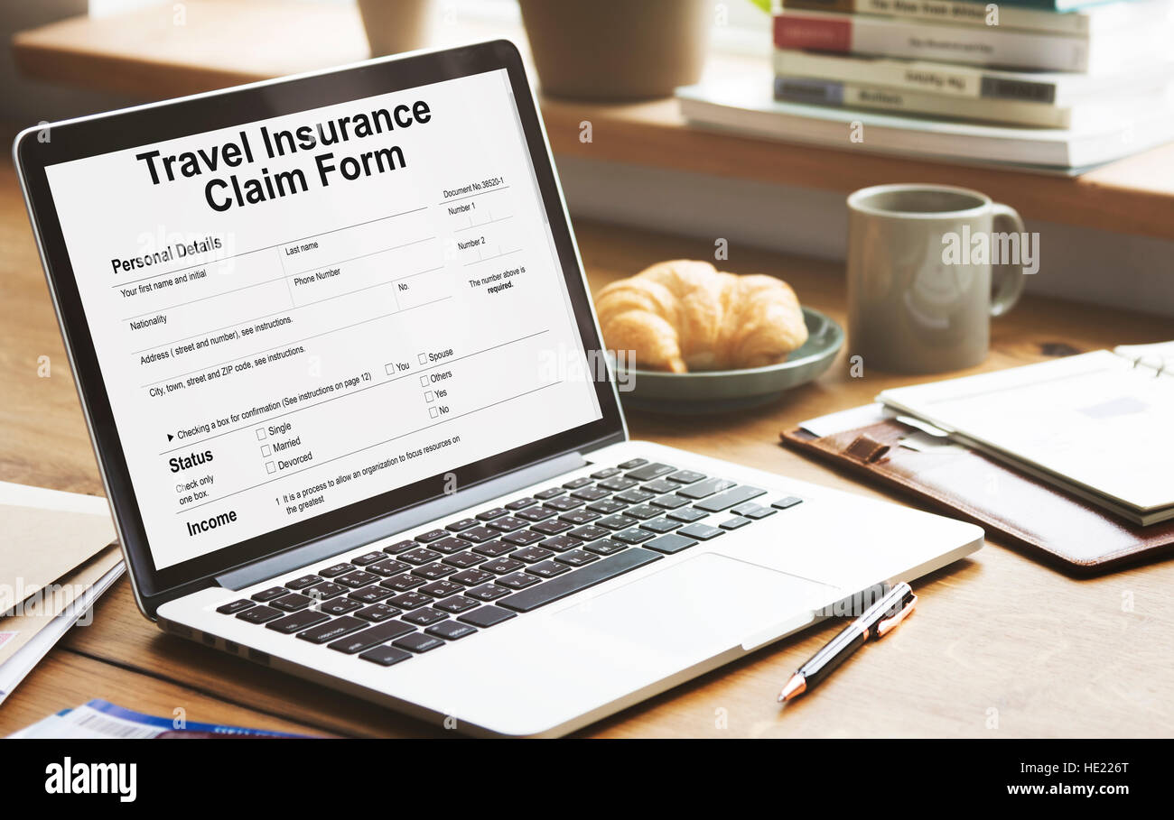 Travel Insurance Claim Form Destination Policy Concept - Stock Image