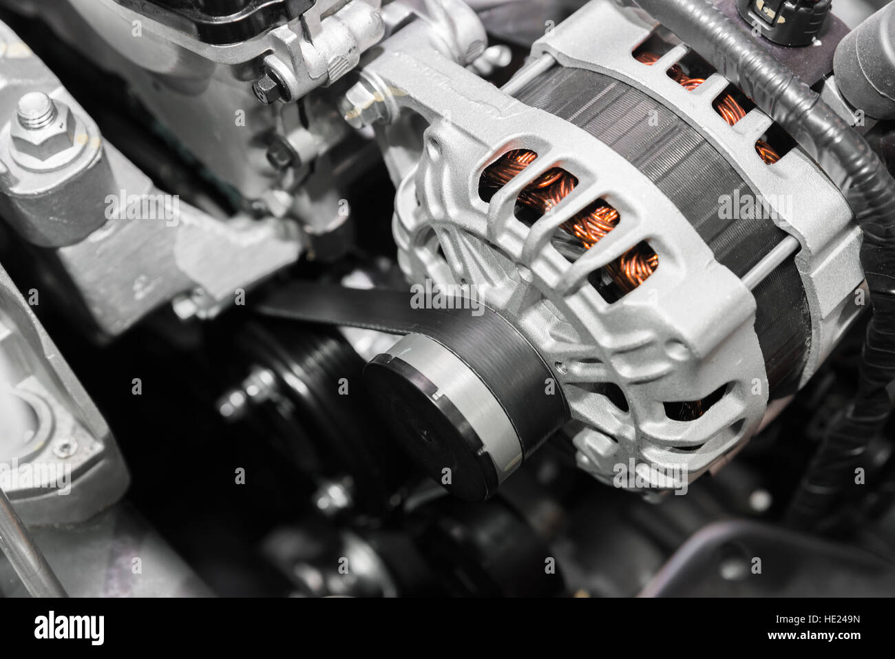 Close up of car timing belt in modern car. - Stock Image