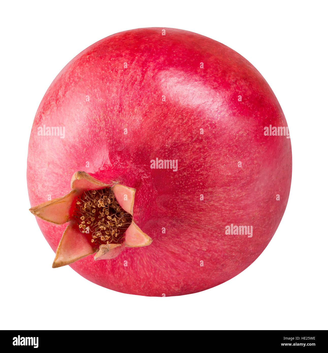 red ripe pomegranate fruit isolated on white background clipping path - Stock Image