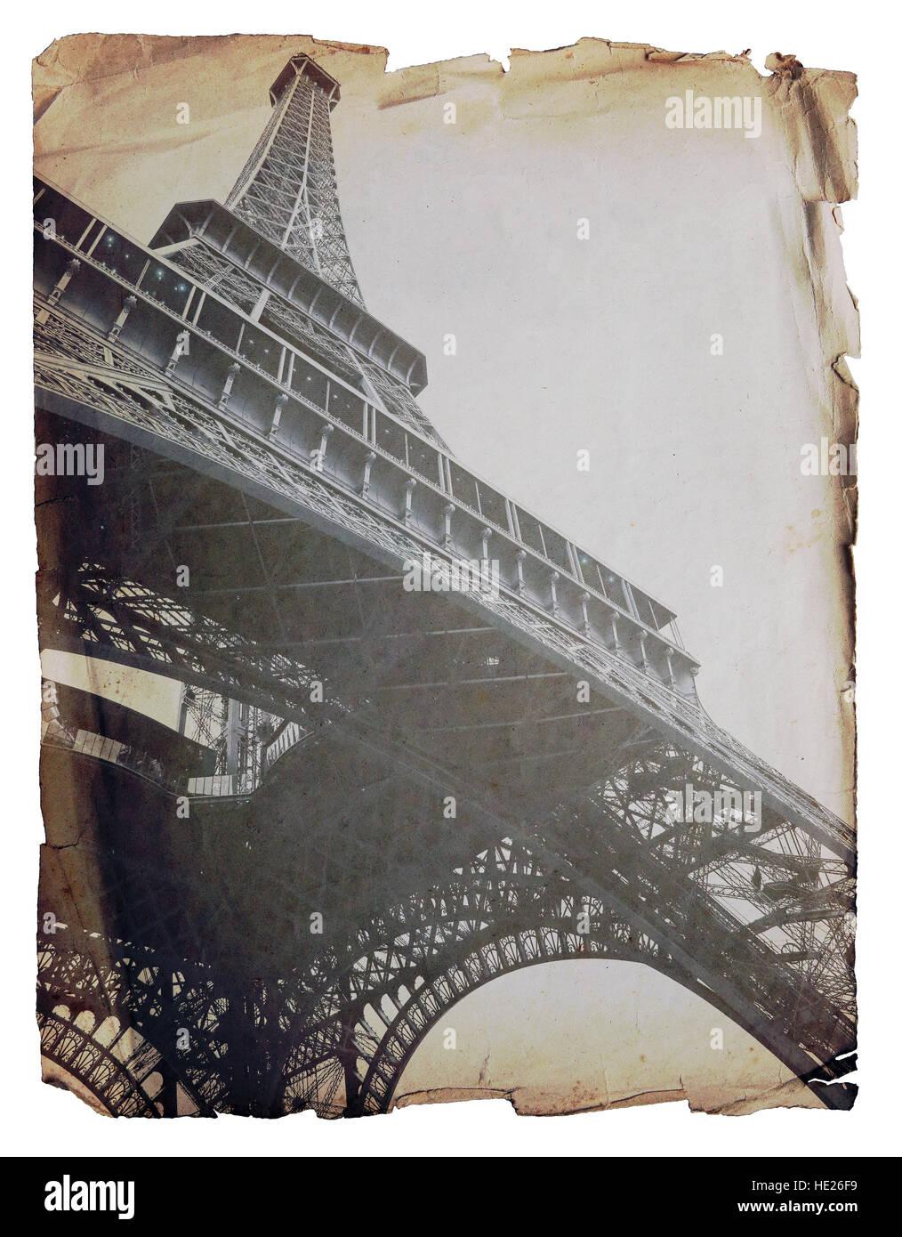 Eiffel Tower - retro postcard styled. - Stock Image