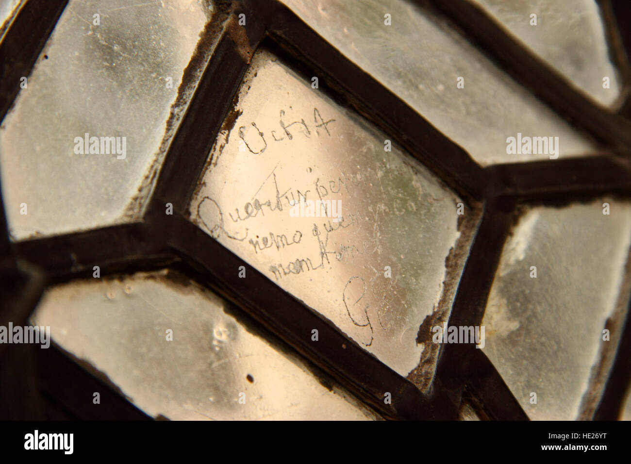 Engraving on a leaded window of the medieval Great Chamber in New Hall Manor, now New Hall Hotel, Sutton Coldfield - Stock Image