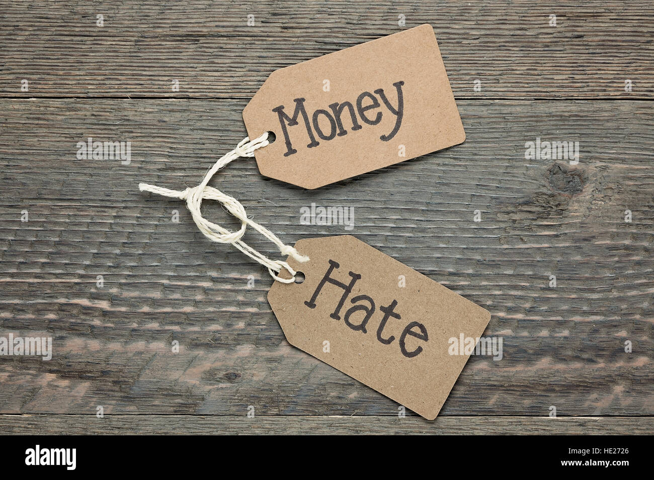 Money and Hate - Stock Image