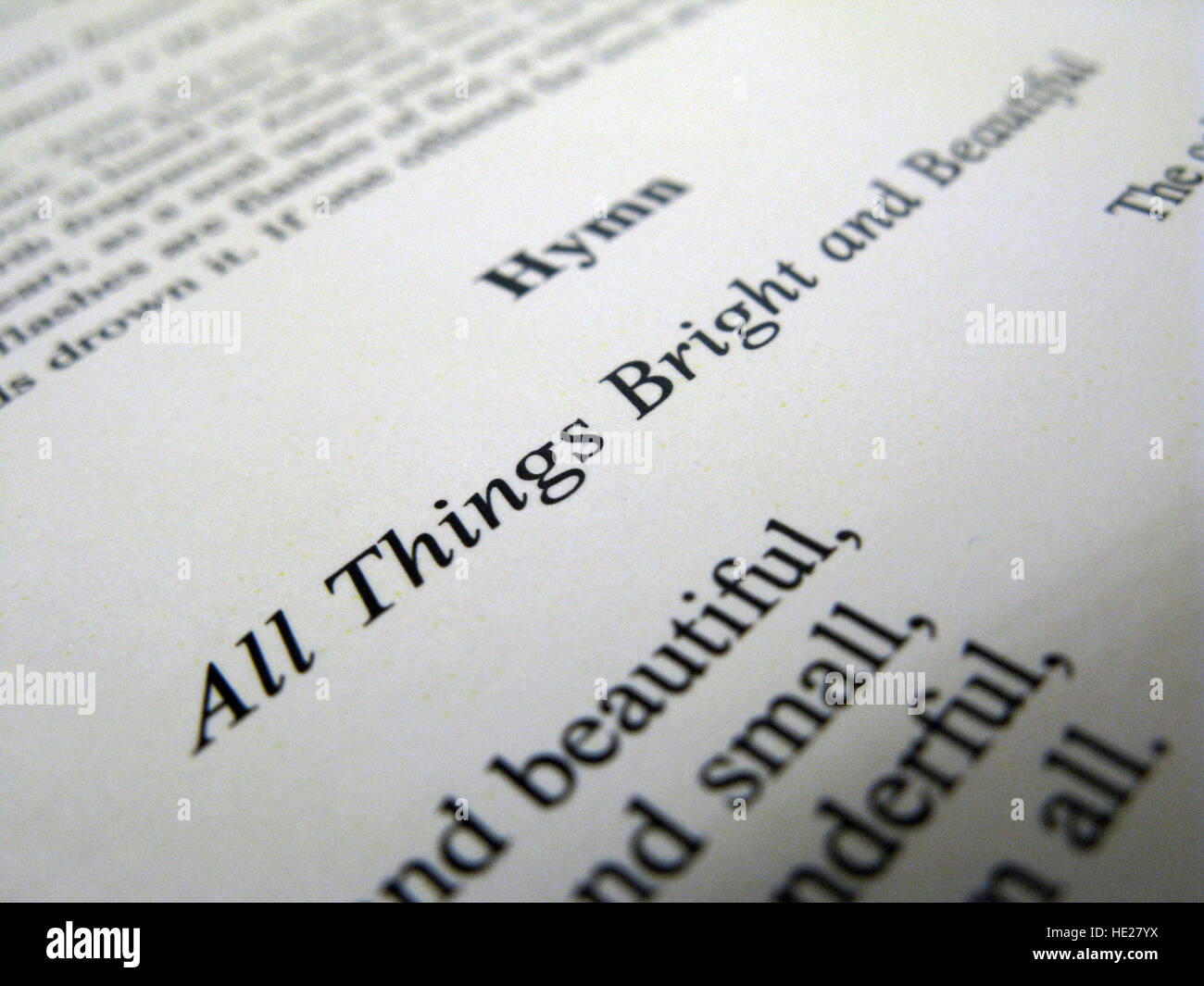 Hymn lyric All Things Bright and Beautiful - Stock Image