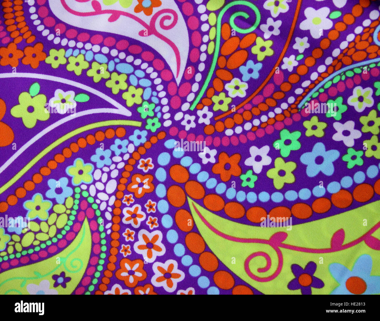 Psychedelic pattern on fabric, from the 1960's or 1970's - Stock Image