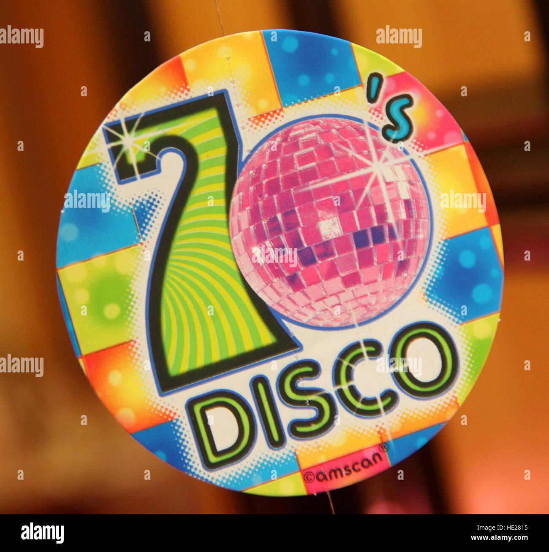 Seventies 70's disco badge, - Stock Image