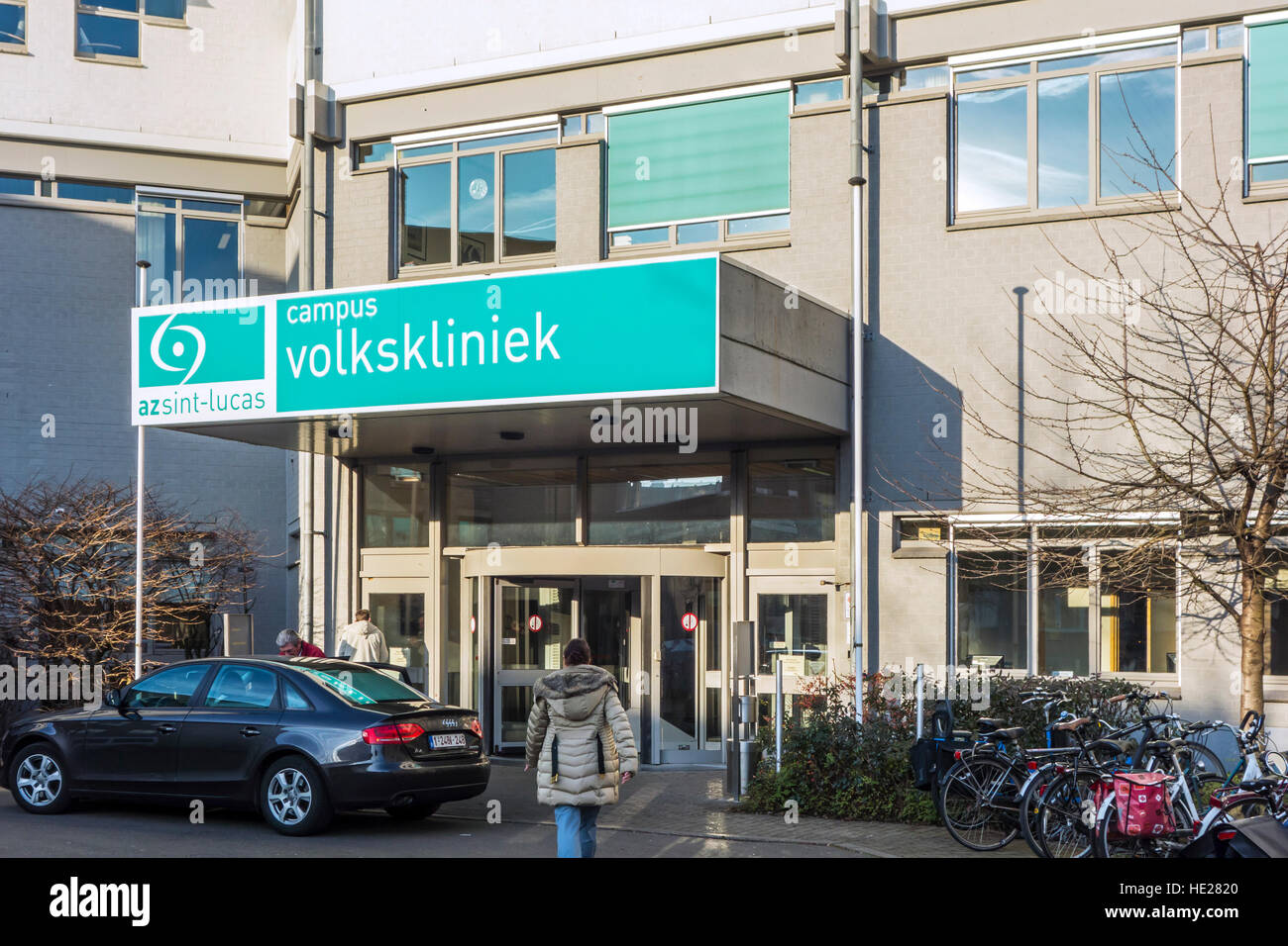 Entrance of the Hospital AZ Sint-Lucas Campus Volkskliniek in the city Ghent, East Flanders, Belgium - Stock Image