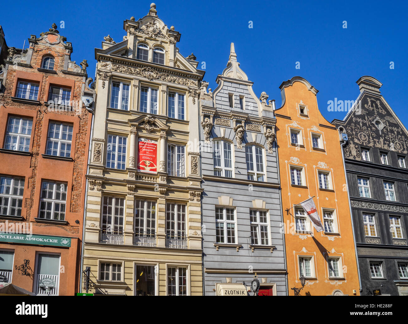 Poland, Pomerania, Gdansk (Danzig), patrician houses at Long Lane (Langgasse/ Ulica Dluga) - Stock Image