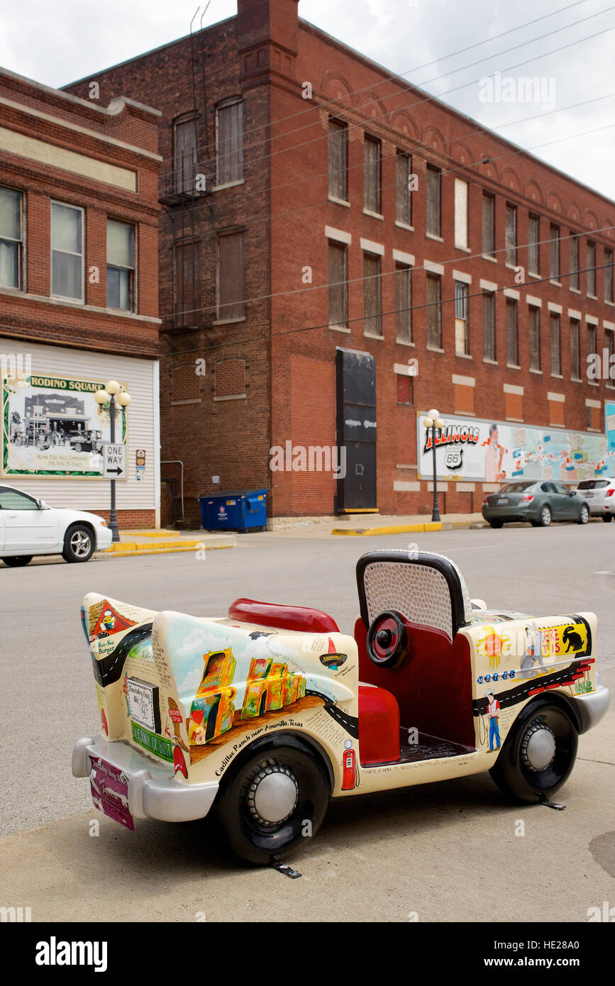 Route 66 memorabilia - miniature car at Pontiac, Livingston County, Illinois, USA. - Stock Image