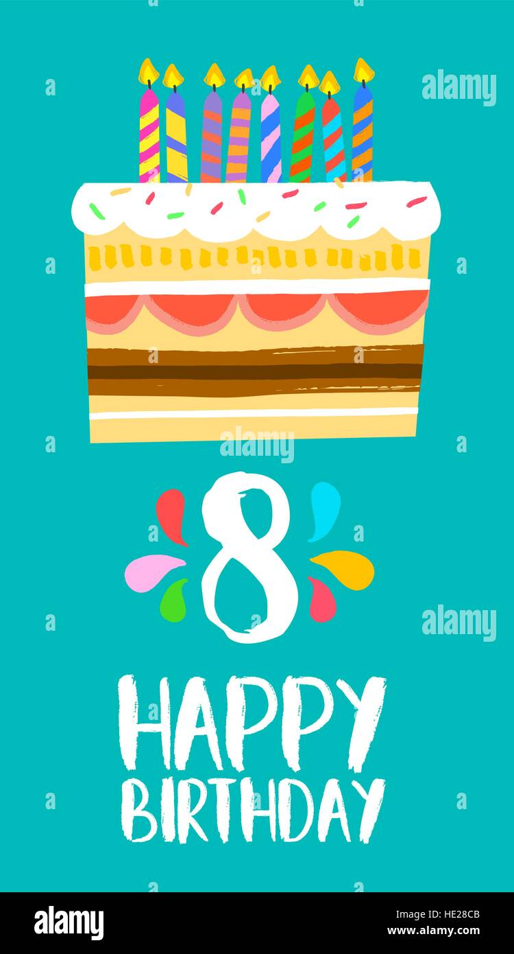 Happy Birthday Number 8 Greeting Card For Eight Years In Fun Art Style With Cake And Candles Anniversary Invitation Congratulations Or Celebration