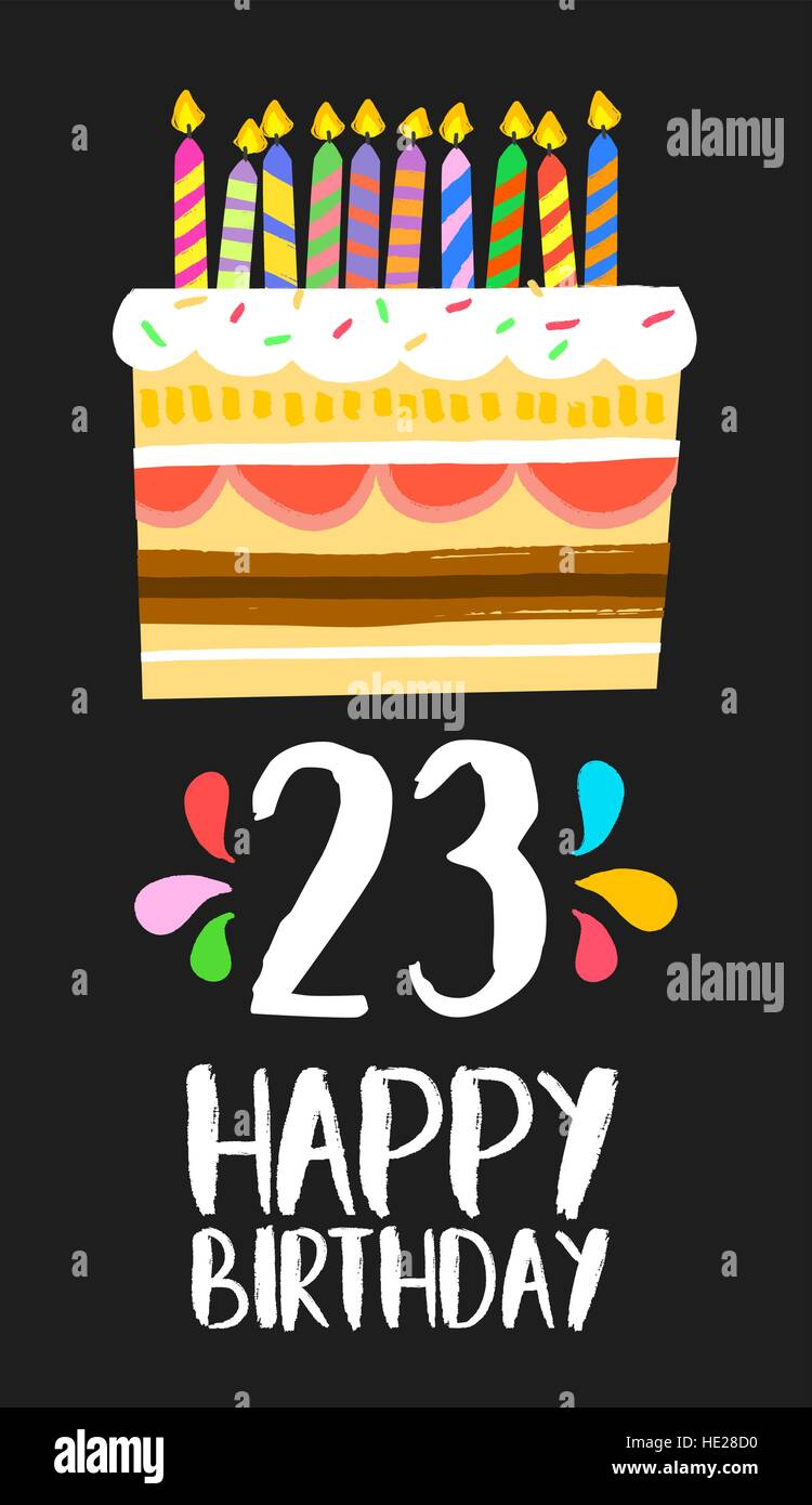 Happy birthday number 23, greeting card for twenty three years in fun art style with cake and candles. Anniversary - Stock Vector