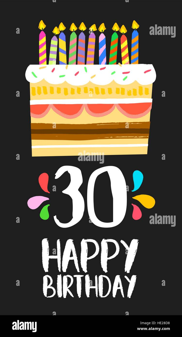 Happy birthday number 30 greeting card for thirty years in fun art happy birthday number 30 greeting card for thirty years in fun art style with cake and candles anniversary invitation congratulations bookmarktalkfo Choice Image